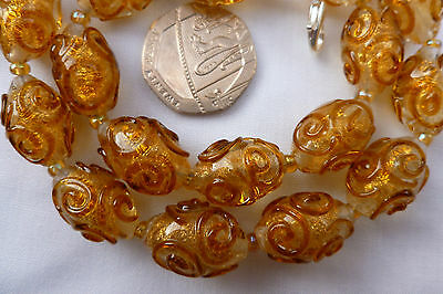 art Deco Style Gold Drizzle Glass Gold Adventurine :Lampwork Glass Bead Necklace