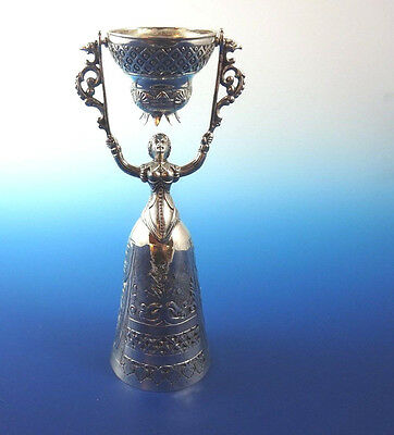 """Beautiful Sterling Silver Bell-Shaped Woman Holding Swinging Basket over Head 8"""""""