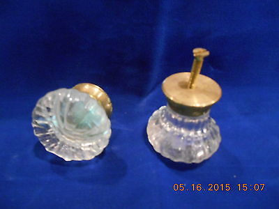Antique Set Crystal Glass 12 Point Doorknobs With Brass Hardware