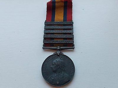 Original Victorian Queens South Africa Medal & 5 Bars