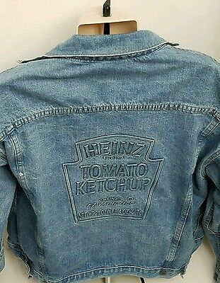 Vintage Heinz 57 Tomato Ketchup Advertising Embossed Jean Jacket Made In USA L