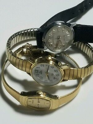 Lot of Womens Watches 3 Vintage Ladies TIMEX PULSAR And Belforte Quartz, Windup