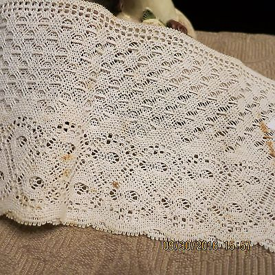 """Vintage  Light Weight  Intricate Fine  Winter White  Cotton  Lace 2Yds  5"""" Wide"""
