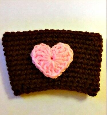 Brown Coffee Cozy with Pink Heart