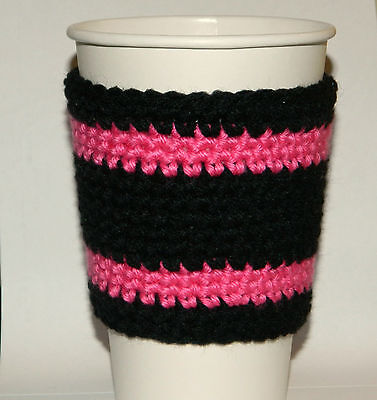 Black and Hot Pink Coffee Cozy