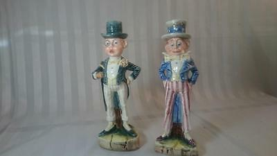 GLAZED PORCELAIN FIGURES x2 ENGLISH AND AMERICAN GENTS