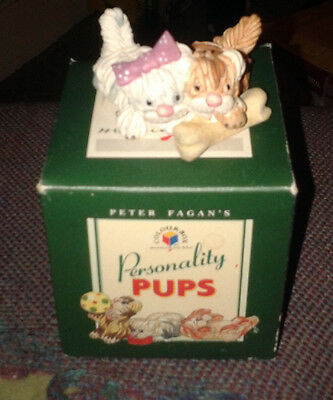 """Boxed Peter Fagan Personality Pups """"Sharing a Treat"""" Miniature Dogs Ornament"""