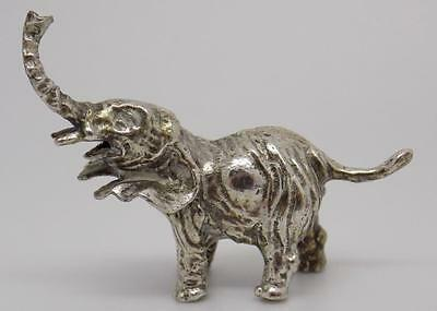 Vintage Solid Silver Elephant Miniature - Stamped - Made in Italy