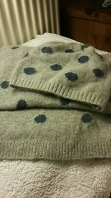 Beanie hat and scarf set ..grey with navy spots .