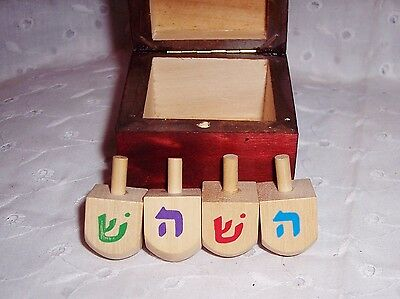 4 Wooden Dreidels Spinning Tops Set With Hand Carved Box