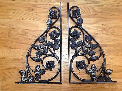 Vintage Wrought Iron Shelf Brackets Floral Rose Leaf Rustic Decorative