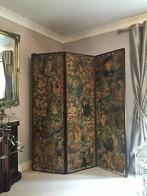 Antique Victorian Changing Scrap Screen Decoupage 3 Panel Folding Room Divider