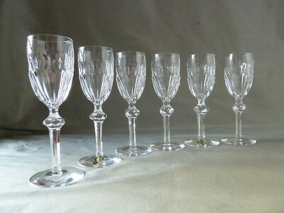 6 Waterford Crystal Curraghmore cut sherry glasses, signed