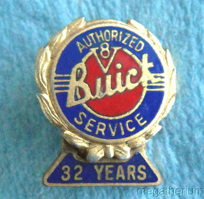 "Antique BUICK MOTOR ""AUTHORIZED V8 SERVICE"" Mechanic Screw-Back Pin; 32 Yrs Orig"