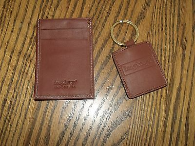 Longaberger Key Chain And Id Credit Card Holder - Brown Leather