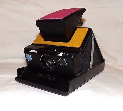 Polaroid SX-70 SLR Land Camera *Fully Working* Pink Yellow Blue Button
