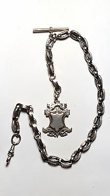 Antique Silver Fancy Albert Watch Chain with Fob