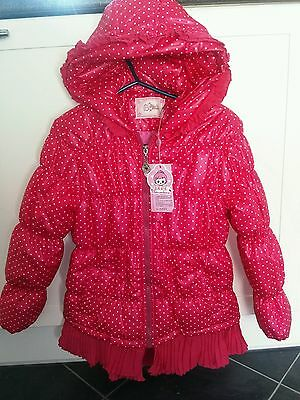 BNWT girls hooded pink spotty long line winter coat 8-9 years
