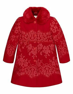 Monsoon Girls Red Lace Elize Coat Age 5-6 £70 Party