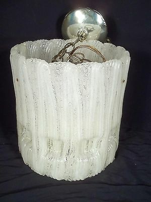 Vintage Mid Century Modern  Circular Lucite Icicle Hanging Light