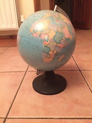 WORLD GLOBE Rotating Swivel Map of Earth Atlas  diameter 32 cm mint condition