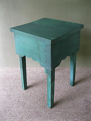 Antique Table End Side Primitive Wood Stand, Old Green Paint, DIETZ Lantern Box
