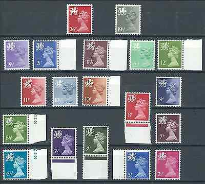 QEII Welsh Machins: 19 Value Selection from SG_W13-W61 MNH**.