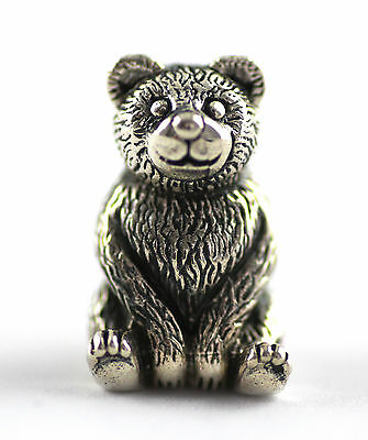 Miniature Edwardian Style Teddy Bear Blue Pin Cushion Sterling Silver 925