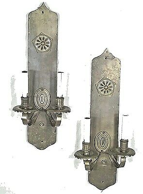 PAIR ANTIQUE EARLY 20th CENTURY ARCH TOP BRASS DOUBLE ARM SCONCES