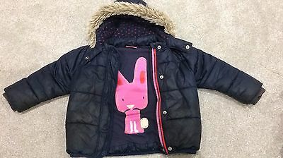 Girls Next Navy Blue Jacket with Pink Rabbit design and Fur Hood - Age 2-3
