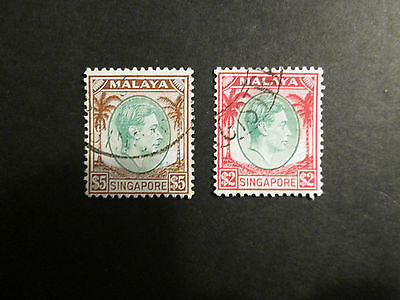 Singapore  1948 $2 and $5  definitives fine used perf 14