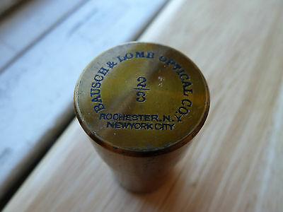 19C. ANTIQUE MICROSCOPE OBJECTIVE LENS BRASS BOX Bausch & Lomb 2/3