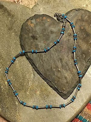 Vintage Mexican Alpaca Silver And Turquoise Beaded Necklace
