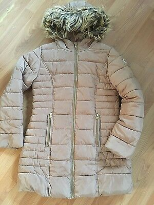 NEXT Girls Beige Padded Quilted Fur Hood Coat Jacket  Age 11