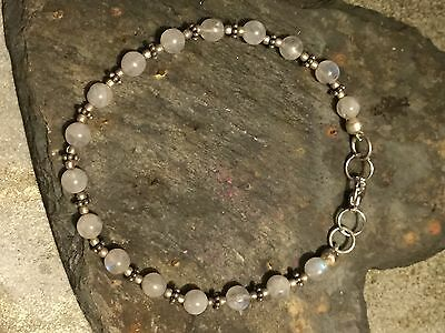 Vintage Mexican Alpaca Silver And Moonstone Beaded Bracelet