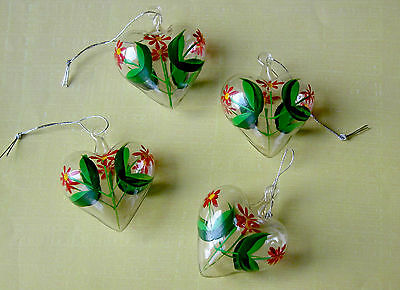 Set of 4 Vintage Puffy Glass Hand-Painted Heart Christmas Ornaments