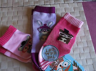 Brand New 3 Pack Girls Pink Woodland Friends Socks  Uk Size 6-8