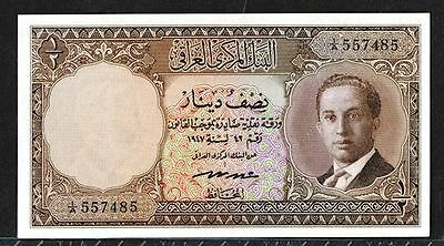 Iraq King Faisal ll, 1/2 dinar UNC 63 Uncirculated banknote