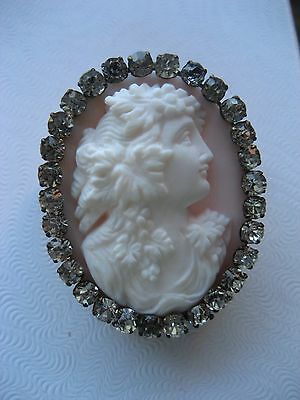 Antique Victorian Hand Carved Shell Cameo Dionysus c 1880's fabulous paste mount