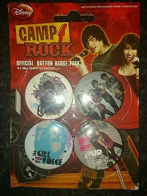 Camp Rock Badges Sealed Pack of 4 Ideal Stocking Filler or Gift Christmas Xmas