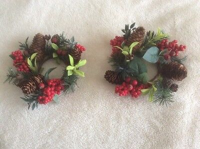 Pair Of Christmas Candle Rings Holders