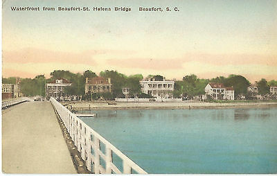 Early 1900s Hand-Colored Postcard Illustrating the Waterfront in Beaufort, SC