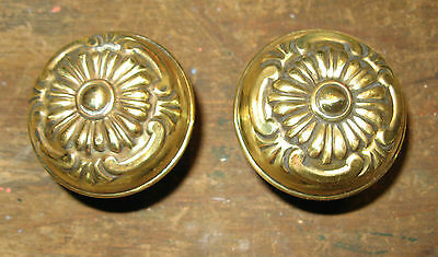 Antique Pair Of Victorian Brass Floral Repousse Door Knobs