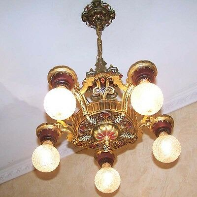 934 Vintage 20s 30s Ceiling Light  aRT deco Nouveau Polychrome Chandelier iron
