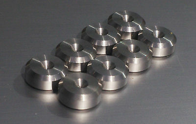 - British Made -CNC Stainless Speaker spike pads shoes feet 15mm DIA - SeT of 8-