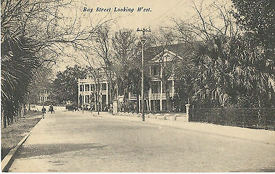 Early 1900s Black and White Postcard - Bay Street Looking West, Beaufort, SC