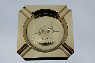 Cunard White Star Line Rms Queen Mary Stamped Brass Souvenir Ash Tray 1930's