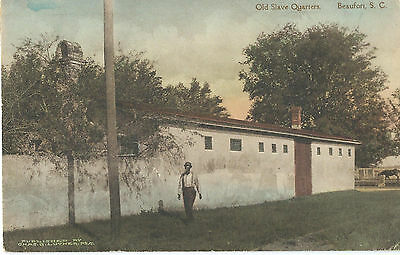 Early 1900s Hand-Colored Postcard - Old Slave Quarters in Beaufort, SC