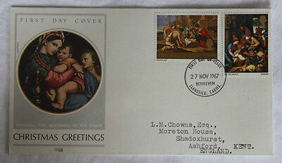 TFDC 1967 Christmas Greetings First Day of Issue Cancel
