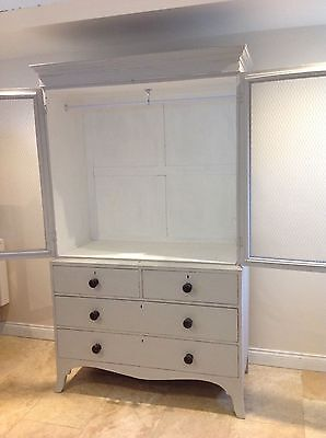 Antique Hand Painted vintage Linen Press wardrobe compactum